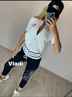 Шикарный летний спортивный костюм женский, Красивый модный стильный спортивный костюм женский, Женский спортивный костюм отделка камни кофта белая, фото 2