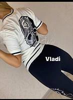 Шикарный летний спортивный костюм женский, Красивый модный стильный спортивный костюм женский, Женский спортивный костюм отделка камни кофта белая, фото 3