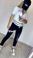 Шикарный летний спортивный костюм женский, Красивый модный стильный спортивный костюм женский, Женский спортивный костюм отделка камни кофта белая, фото 4