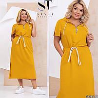 Нарядное женское длинное платье с разрезами по бокам и капюшоном большого размера, Повседневное платье длинное большого размера с капюшоном!, фото 2