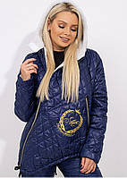 Костюм зимний стеганый на овчине куртка штаны Синий, фото 2