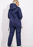 Костюм зимний стеганый на овчине куртка штаны Синий, фото 3