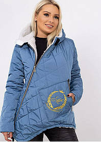 Костюм зимний стеганый на овчине куртка штаны Голубой