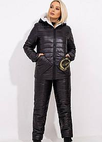 Костюм зимний стеганый на овчине куртка штаны Черный