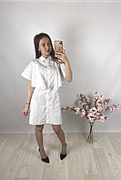 Женское белое платье - рубашка мини PrettyLittleThing, оригинал, Великобритания, размер S(Укр 40-42)