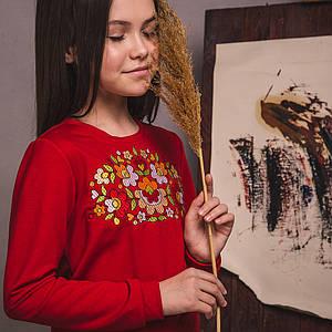 Трикотажний червоний світшот з вишивкою Петраковская розпис