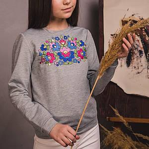 Трикотажний сірого світшот з вишивкою Петраковская розпис