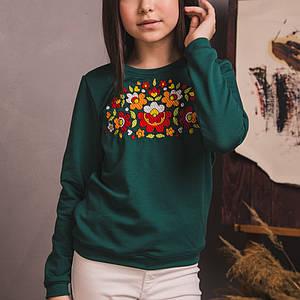 Трикотажний зелений світшот з вишивкою Петраковская розпис
