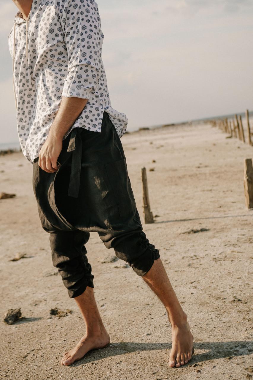 Стильные класссические удобные мужские  штаны  на запах ,лен ,цвет черный.