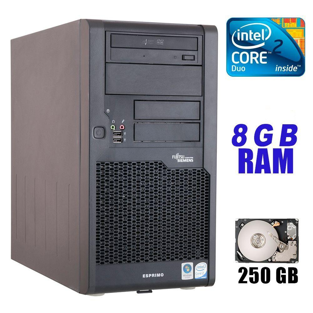 Fujitsu P7935 Tower / Intel Core 2 Duo E8500 (2 ядра по 3.16GHz) / 8 GB DDR2 / 250GB HDD