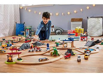 Большой набор деревянной железной дороги PlayTive Junior + пластиковый бокс ikea 217 эл. Германия