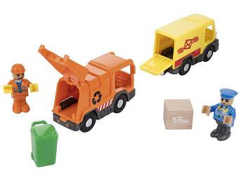 Набор машинок для деревянной железной дороги Playtive Brio Ikea Почта мусорник 2020