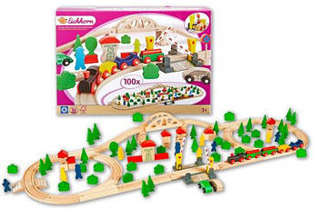 Дерев'яна залізниця Eichhorn 100 елементів 4,1 м