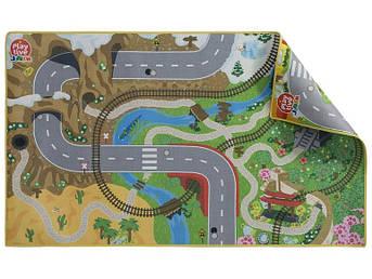 """Двосторонній ігровий килимок """"Навколо світу-Мегаполіс"""" для дерев'яної залізниці PlayTive Junior"""