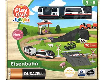 Дитяча дерев'яна залізниця PlayTive Junior (70 деталей) Німеччина