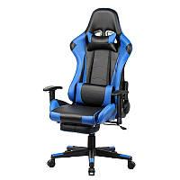 Компьютерное ортопедическое геймерское кресло Racer blue с подставкой для ног