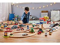 Великий набір дерев'яна яної залізниці PlayTive Junior + пластиковий бокс ikea 217 їв. Німеччина