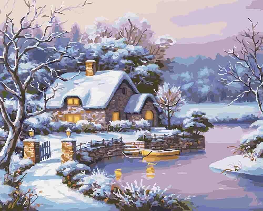 КНО2248 Раскраска по номерам Сказочная зима, Без коробки