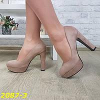 Женские темно-бежевые туфли на каблуке и платформе, ОВЛ 2087-3, фото 1
