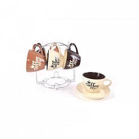Сервиз чайный Interos Кофе MIX 12 предметов 220 мл на подставке KW 116 (84451)