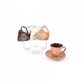 Сервиз чайный Interos Кофе MIX 12 предметов 220 мл на подставке KW 117 (84452)
