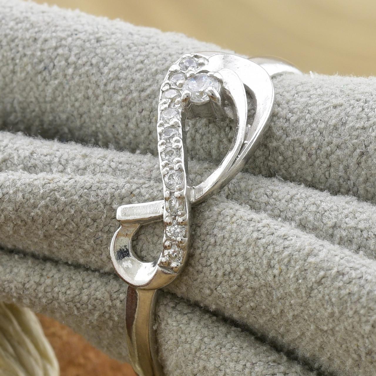 Серебряное кольцо Бесконечность вес 1.39 г размер 16 вставка белые фианиты