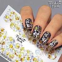 Слайдер-дизайн ЦВЕТЫ Вензеля - Слайдеры водные наклейки ЦВЕТЫ Fashion Nails - Наклейки на ногти розы желтые