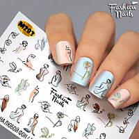 Слайдер -дизайн Силуэт Девушки - Слайдеры для ногтей лица - наклейки на ногти водные Fashion Nails M283 лица