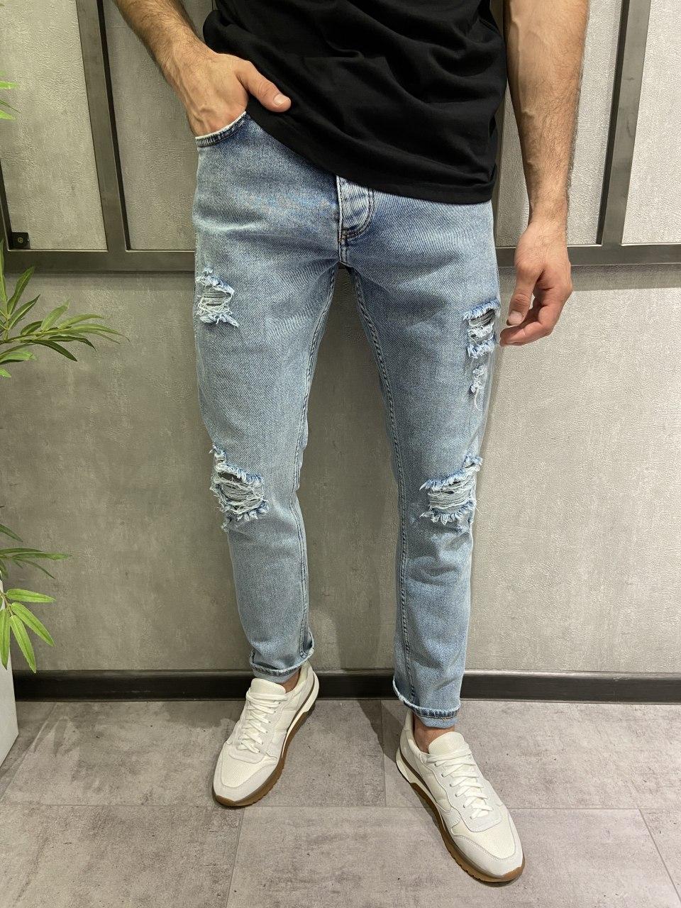 Мужские джинсы рваные голубые 15279