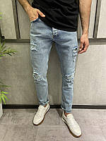 Мужские джинсы рваные голубые 15279, фото 1