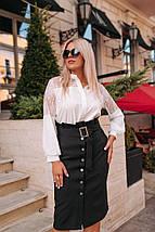 """Классическая юбка-карандаш """"Karin"""" с поясом и карманами (большие размеры), фото 3"""