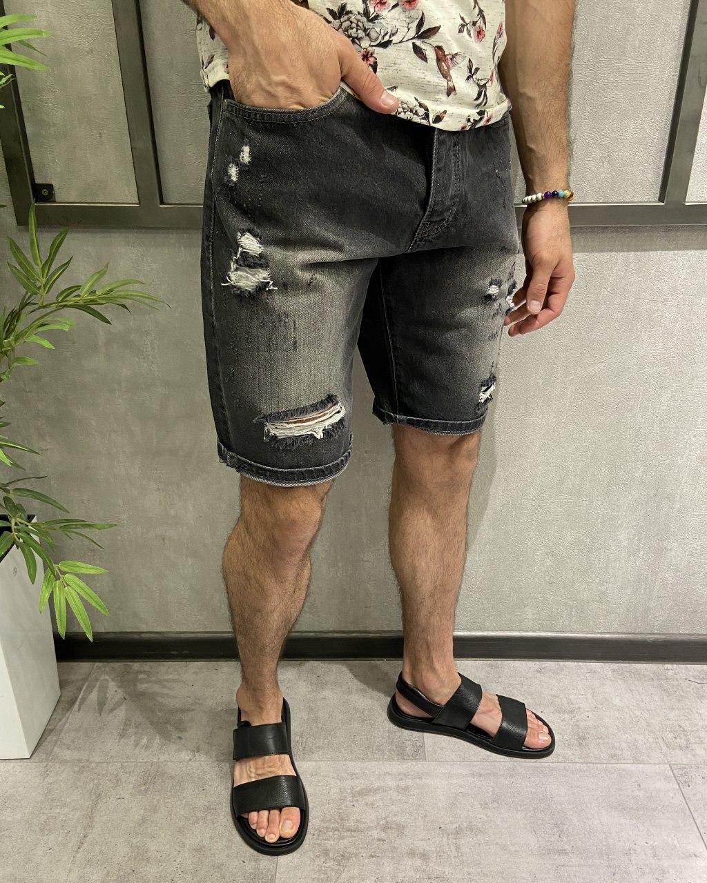 Темно-сірі джинсові шорти чоловічі рр.29-33