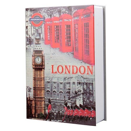 Книга-сейф с замком Шкатулка металлическая 24х16х6см MK0791 (Лондон)