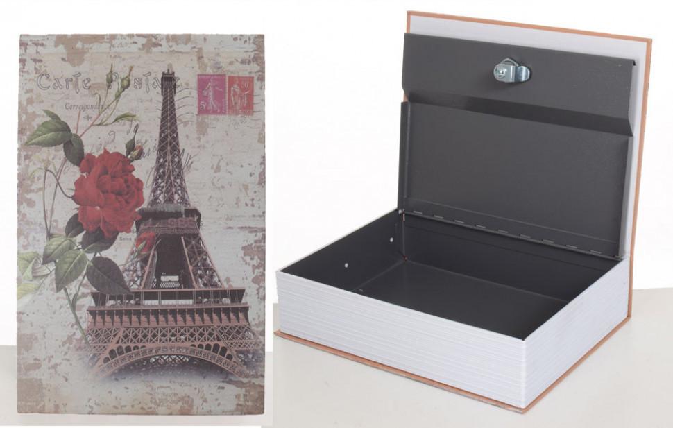 Книга-сейф с замком Шкатулка металлическая 27х20х7см MK1847 (Башня )