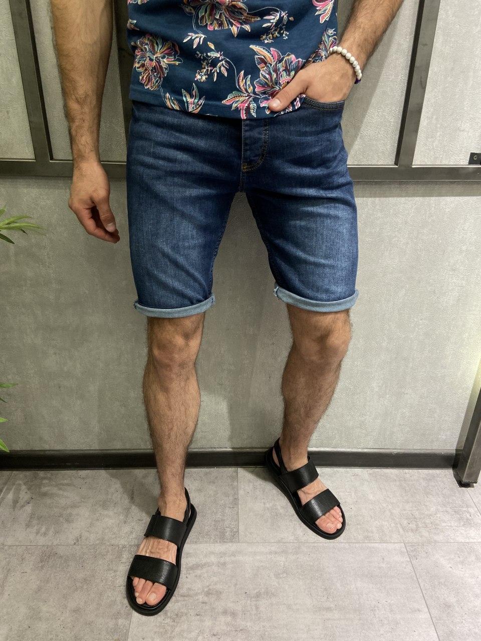 Мужские джинсовые шорты темно-синие