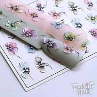3D-Декор для дизайна ногтей - 3D наклейки для дизайна ногтей Цветы со стразами - Слайдер-дизайн ЦВЕТЫ Хрусталь