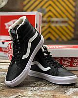 VANS SK8-HI REISSUE черные кроссовки на зиму демисезонные. Мужские кроссы Ванс Рейсу с мехом