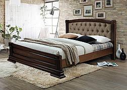 Кровать двуспальная с мягким изголовьем из массива ольхи  Прага 160х200 RoomerIN , цвет орех + патина