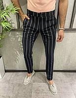Чоловічі штани чорно-сірі в смужку, фото 1