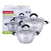 Набор кастрюль Kamille посуда из нержавеющей стали для газа 4 предмета для приготовления пищи для индукции и газа KM-5753, фото 1