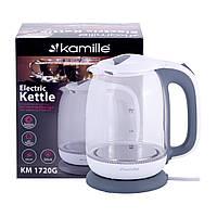 Чайник 1,7л электрический Kamille из боросиликатного стекла KM-1720G, фото 1