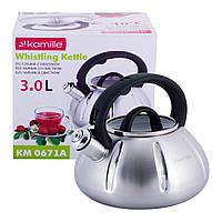 Чайник Kamille 3л из нержавеющей стали со свистком и стеклянной крышкой KM-0671A