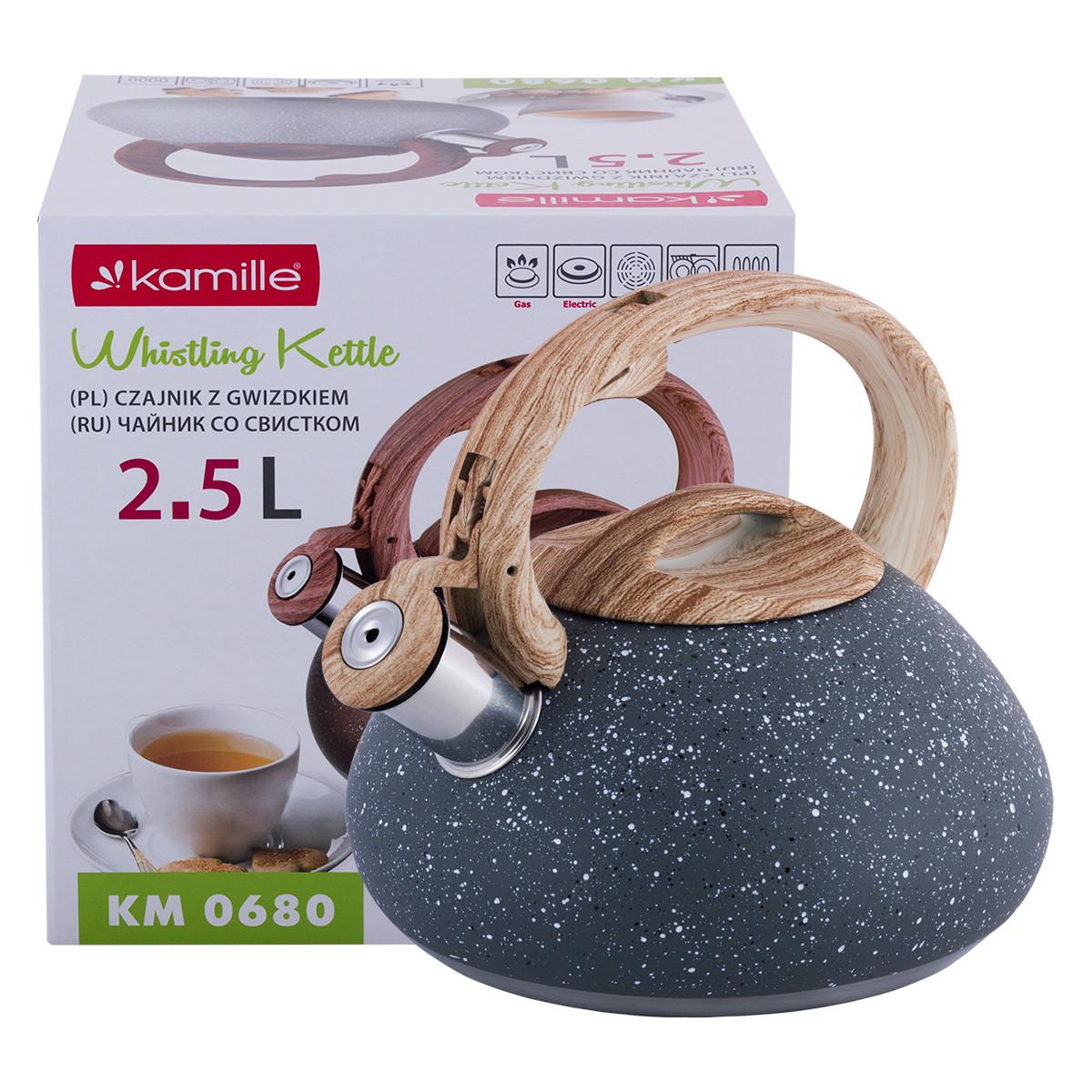 Чайник Kamille 2.5л из нержавеющей стали со свистком и бакелитовой ручкой (коричневый, серый, светл. серый) KM-0680