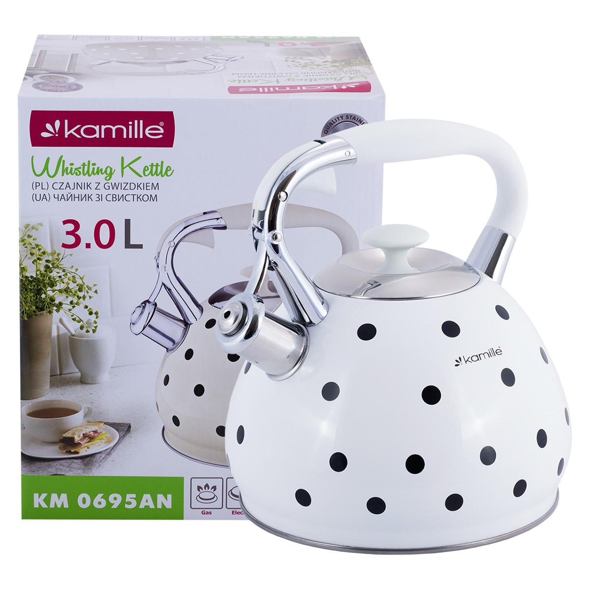 """Чайник 3л з нержавіючої сталі зі свистком і ручкою з покриттям soft-touch"""" (білий, бежевий, кавовий) KM-0695AN"""