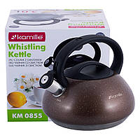 Чайник 3л из нержавеющей стали со свистком и бакелитовой ручкой (коричневый, серый, черный) KM-0855