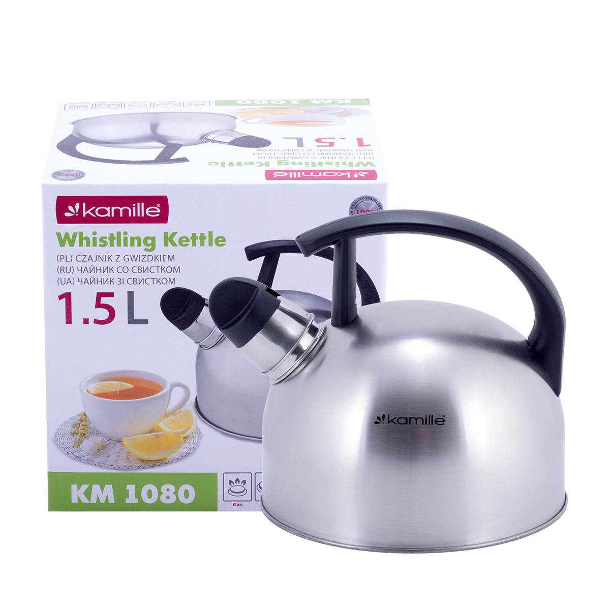 Чайник Kamille 1,5л из нержавеющей стали со свистком  и бакелитовой ручкой  для индукции и газа KM-1080