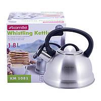 Чайник Kamille 1,8л из нержавеющей стали со свистком  и бакелитовой ручкой  для индукции и газа KM-1081