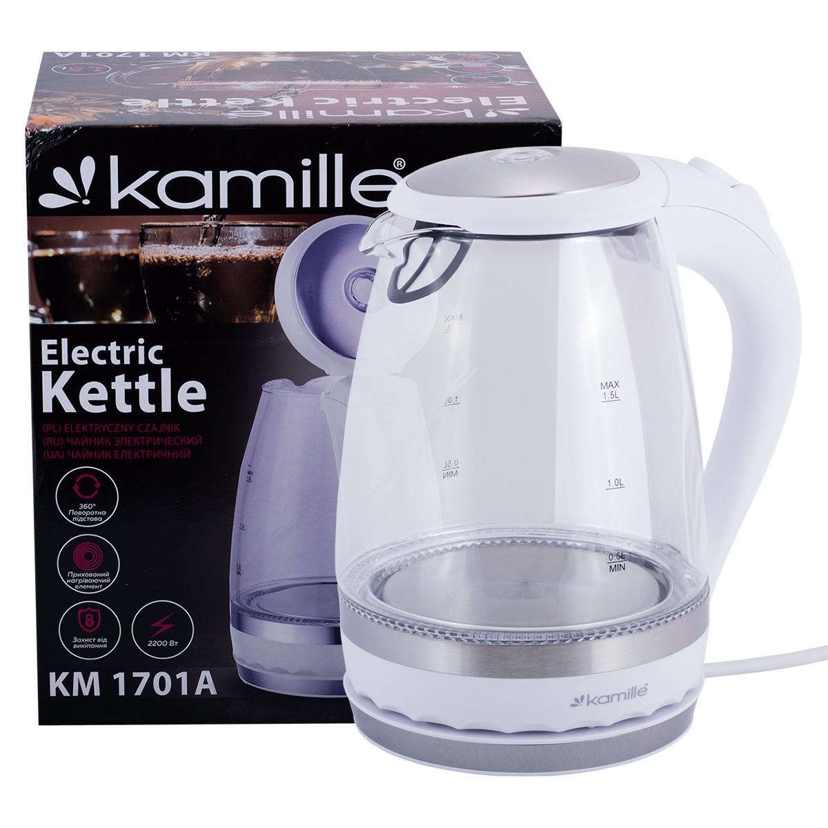 Чайник электрический Kamille 1.5л с синей LED подсветкой и стальными декоративными вставками KM-1701A