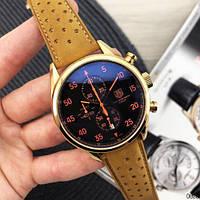 Наручные часы в стиле TAG Heuer Carrera 1887 SpaceX Quartz Gold/Black-Orange