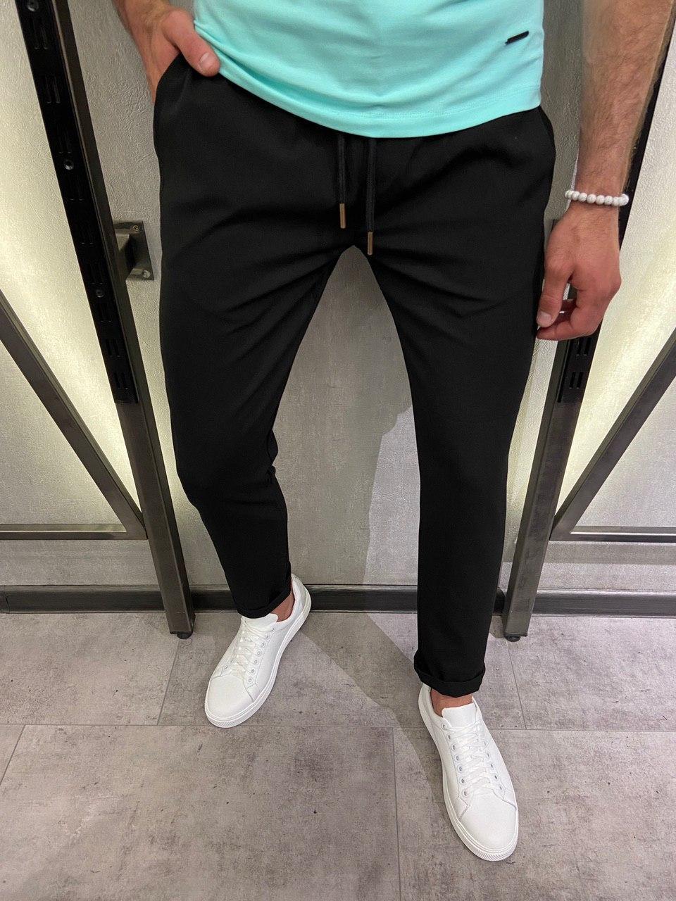 Чоловічі брюки чорні 18436